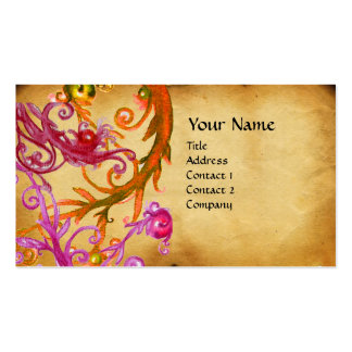 RED BERRIES SWIRLS  parchment Business Card Template