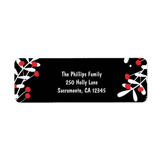 Red Berries & White Leaves Black Holiday Card Return Address Label