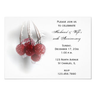 Red Berries Winter Wedding Anniversary Party Card