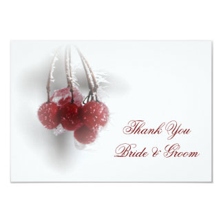 Red Berries Winter Wedding Thank You Notes Flat 9 Cm X 13 Cm Invitation Card