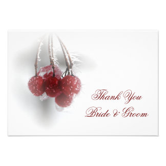 Red Berries Winter Wedding Thank You Notes Flat Personalized Announcements