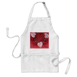 Red berries wreath with hearts aprons