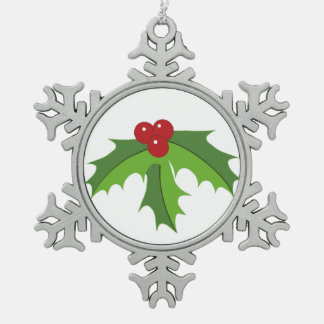 Red Berry Holly Snowflake Pewter Christmas Ornament