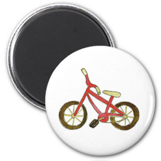 Red Bicycle 6 Cm Round Magnet