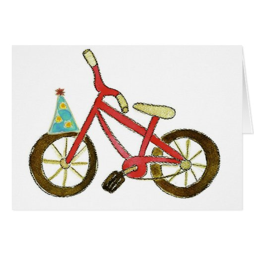 Red Bicycle Birthday Hat Card