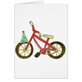 Red Bicycle Birthday Hat Greeting Card