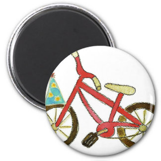 Red Bicycle Birthday Hat 6 Cm Round Magnet