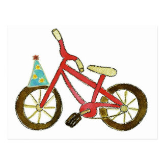 Red Bicycle Birthday Hat Post Card