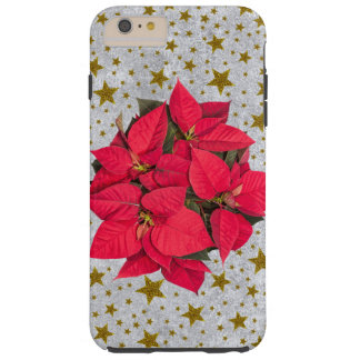 Red big Christmas flower, gold stars on silver Tough iPhone 6 Plus Case