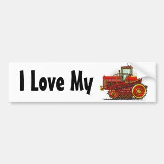 """Red Big Dozer Tractor, I Love My…Bumper Stickers"" Bumper Sticker"