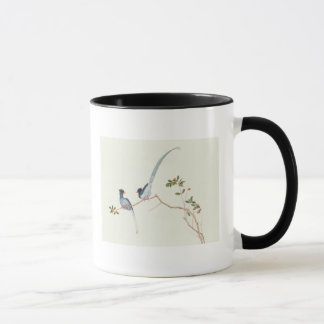 Red-billed blue magpies,a branch red berries mug