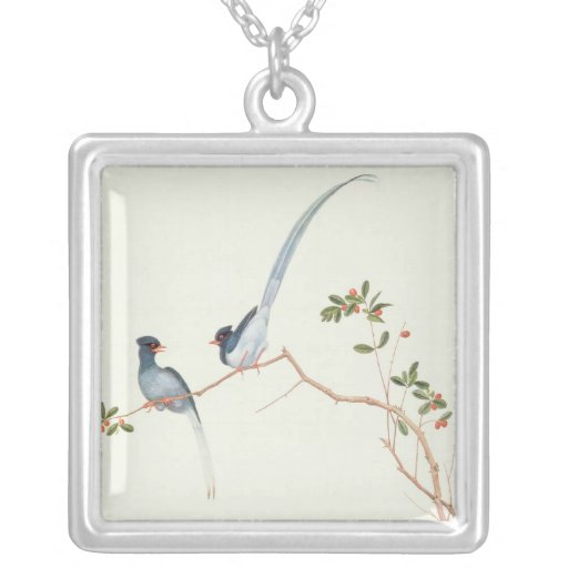 Red-billed blue magpies,a branch red berries pendants