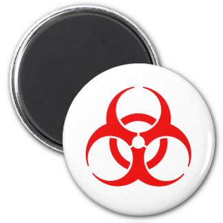 Red Biohazard Symbol 6 Cm Round Magnet