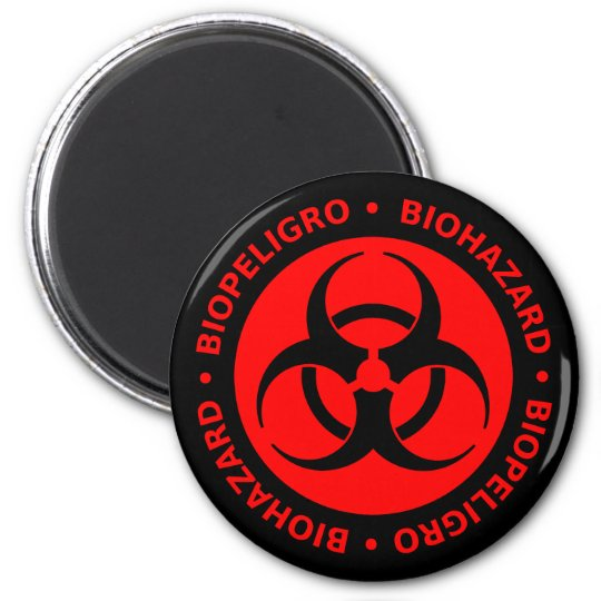 Red Biohazard Warning Magnet