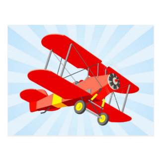 Red Biplane Graphic with Blue Star Burst Postcard