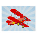 Red Biplane Graphic with Blue Star Burst Poster