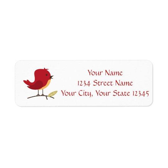 Red Bird Address Label