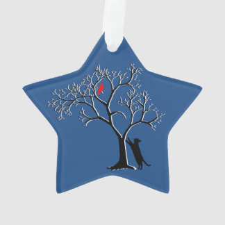 Red bird and black cat star ornament