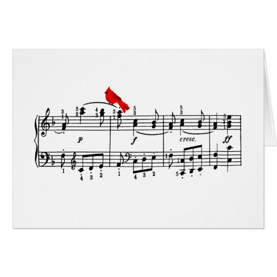 Red Bird and Music Note Card