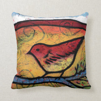 Red Bird Heard the Desert Calling Cushion