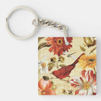 Red Bird in a Flower Garden Double-Sided Square Acrylic Key Ring