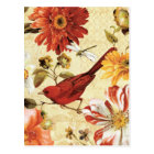 Red Bird in a Flower Garden Postcard