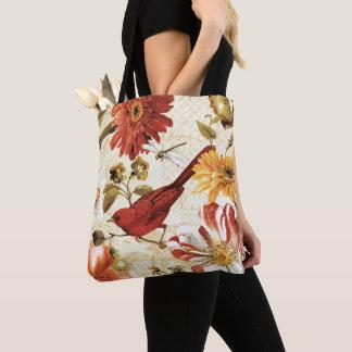 Red Bird in a Flower Garden Tote Bag