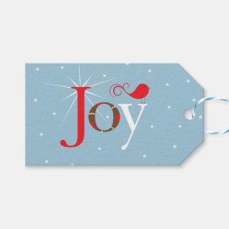 Red Bird Joy Christmas Gift Tags