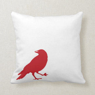 Red Bird on White Throw Pillow - Solid Red back