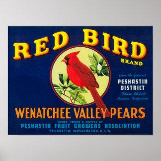 Red Bird Pear Crate LabelPashastin, WA Poster