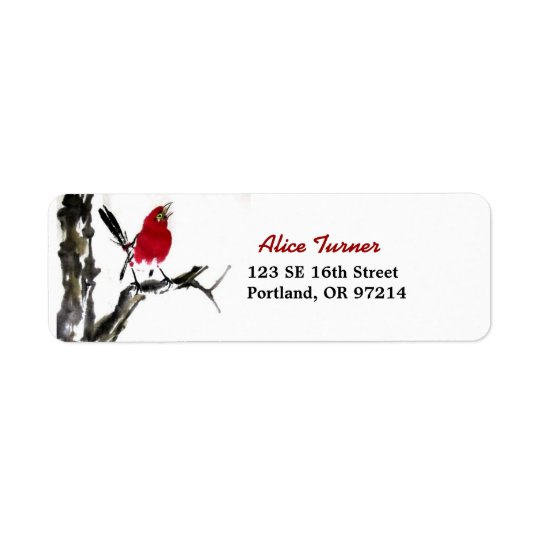 Red Bird Return Address Label