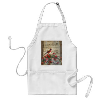 Red bird,  & roses  on vintage music sheet aprons