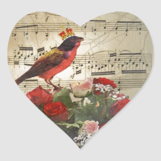 Red bird,  & roses  on vintage music sheet heart sticker