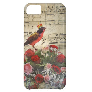 Red bird, & roses on vintage music sheet iPhone 5C case