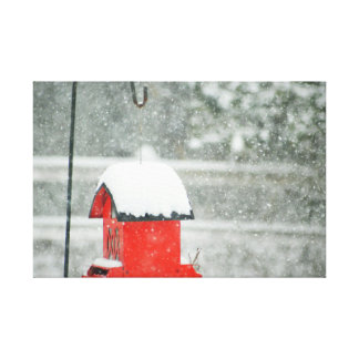Red Birdhouse in the Snow Canvas Print