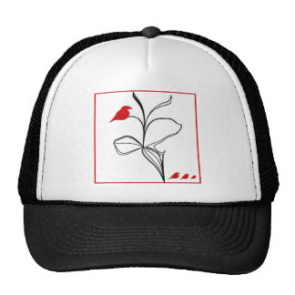 RED birds on abstraction black flower Mesh Hats
