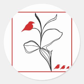 RED birds on abstraction black flower Round Sticker