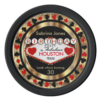 Red Birthday Party Invitation - DIY City & State Poker Chips