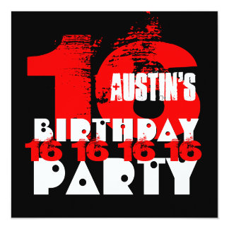 "RED BLACK 16th Birthday Party 16 Year Old V08 5.25"" Square Invitation Card"