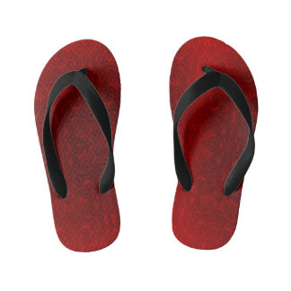 Red/Black Abstract pattern kid's flip flops