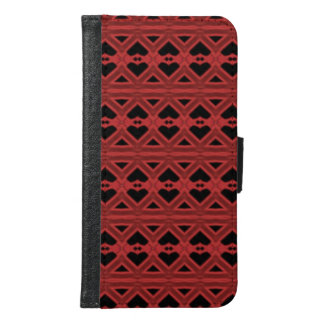 Red black abstract unique pattern samsung galaxy s6 wallet case