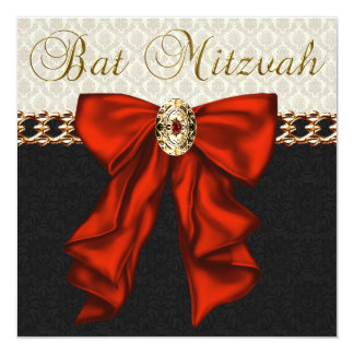 Red Black and Gold Bat Mitzvah 13 Cm X 13 Cm Square Invitation Card