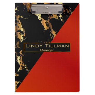 Red, Black and Gold Marble Design Clipboard
