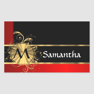 Red black and gold monogram rectangular sticker