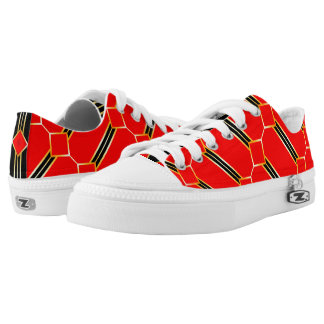 Red Black and Gold Pattern Low Tops