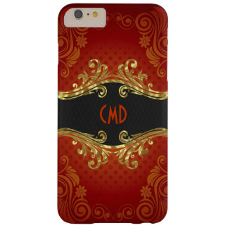 Red Black And Gold Tones Vintage Swirls Monogram 2 Barely There iPhone 6 Plus Case