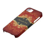 Red Black And Gold Tones Vintage Swirls-Monogram iPhone 5 Case
