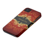 Red Black And Gold Tones Vintage Swirls-Monogram iPhone 4 Case-Mate Case