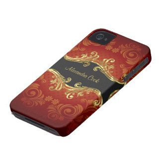 Red Black And Gold Tones Vintage Swirls-Monogram Case-Mate iPhone 4 Case