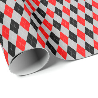 Red, Black and Gray Argyle Wrapping Paper